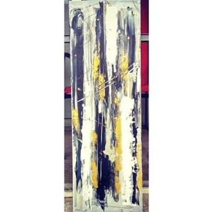 "10""x30"" Abstract Acrylic on Canvas Painting"